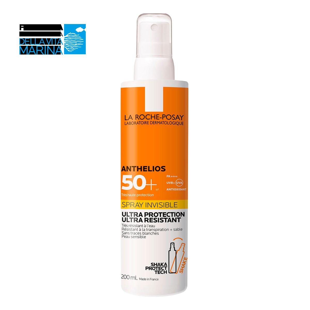 Confezione Anthelios Invisible Spray SPF50+ su sfondo bianco