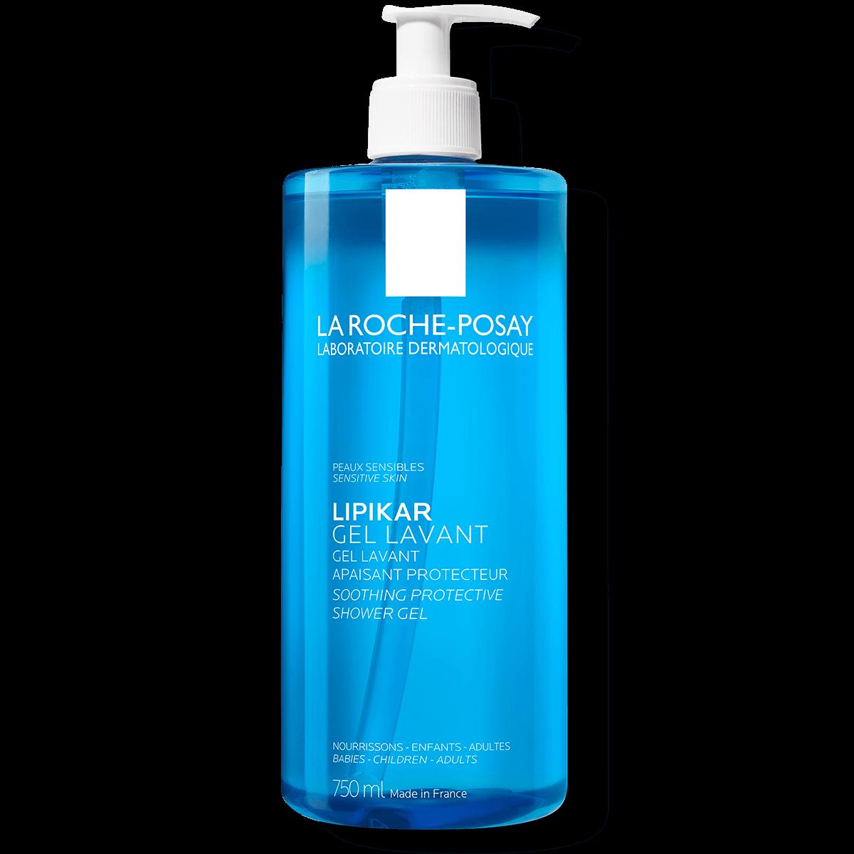 Confezione di Lipikar Gel Lavant pelle sensibile con dispenser su sfondo bianco