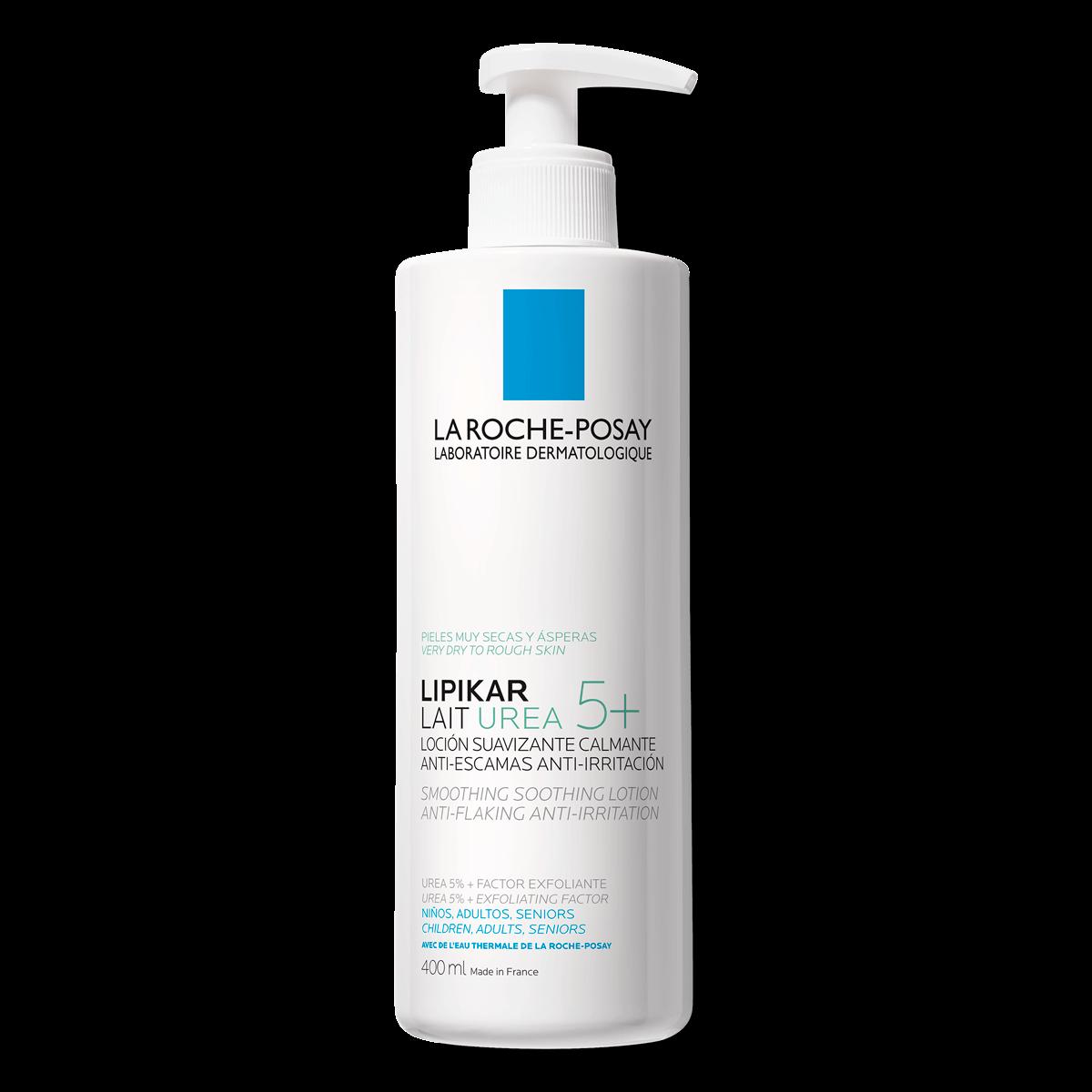 Confezione Lipikar lait urea 5+ 400ml con dispenser su sfondo bianco